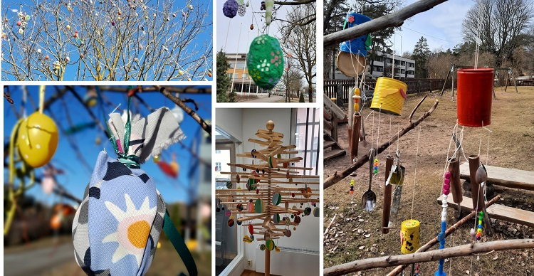 Collage av bilder på olika påskträd.